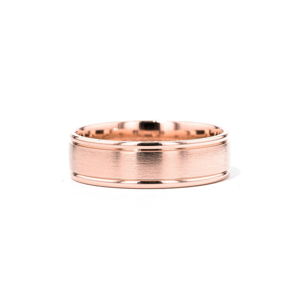 Satin Finish Polish Edge 6.5mm Gold Ring Ring Princess Bride Diamonds 6 14K Rose Gold
