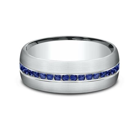 Satin Finish White Gold Channel Sapphire Band Ring Princess Bride Diamonds
