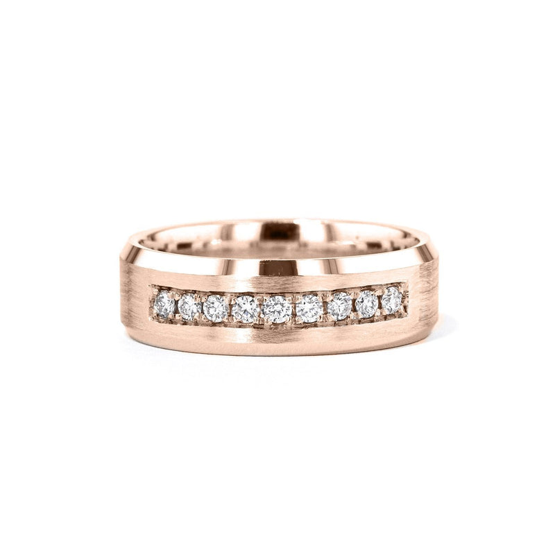 Satin Finish With Diamonds Bevel Edge 7mm Gold Ring Ring Princess Bride Diamonds 6 14K Rose Gold