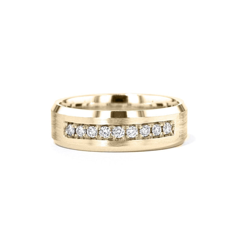 Satin Finish With Diamonds Bevel Edge 7mm Gold Ring Ring Princess Bride Diamonds 6 14K Yellow Gold