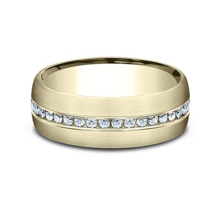 Satin Finish Yellow Gold Channel Diamond Band Ring Princess Bride Diamonds