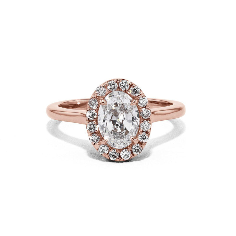 Scarlett Oval Plain-Polish Engagement Rings Princess Bride Diamonds 3 14K Rose Gold