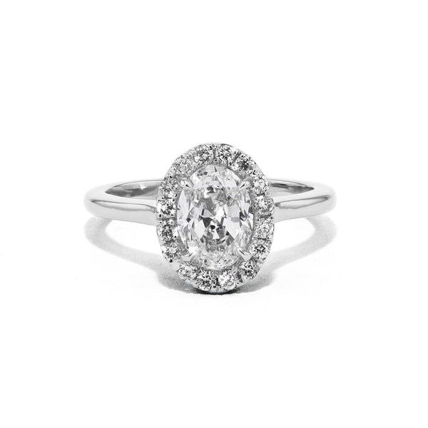 Scarlett Oval Plain-Polish Engagement Rings Princess Bride Diamonds 3 14K White Gold