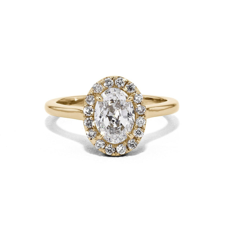 Scarlett Oval Plain-Polish Engagement Rings Princess Bride Diamonds 3 14K Yellow Gold