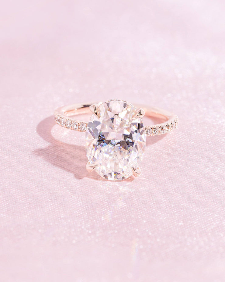Stephanie (5ct) 12x9mm Oval Moissanite Engagement Ring Engagement Rings Princess Bride Diamonds 3 14K Rose Gold