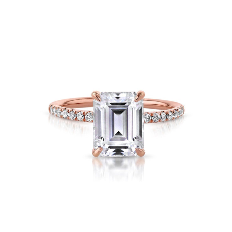 Stephanie Emerald Engagement Rings Princess Bride Diamonds 3 14K Rose Gold