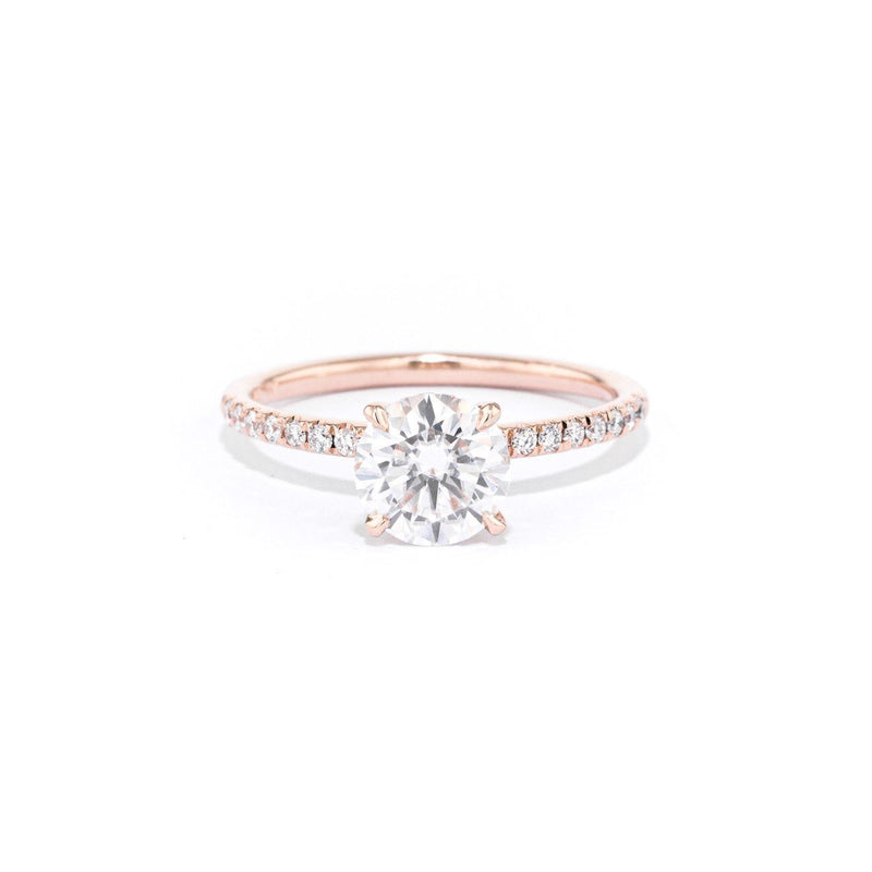 Stephanie Round Engagement Rings Princess Bride Diamonds 3 14K Rose Gold