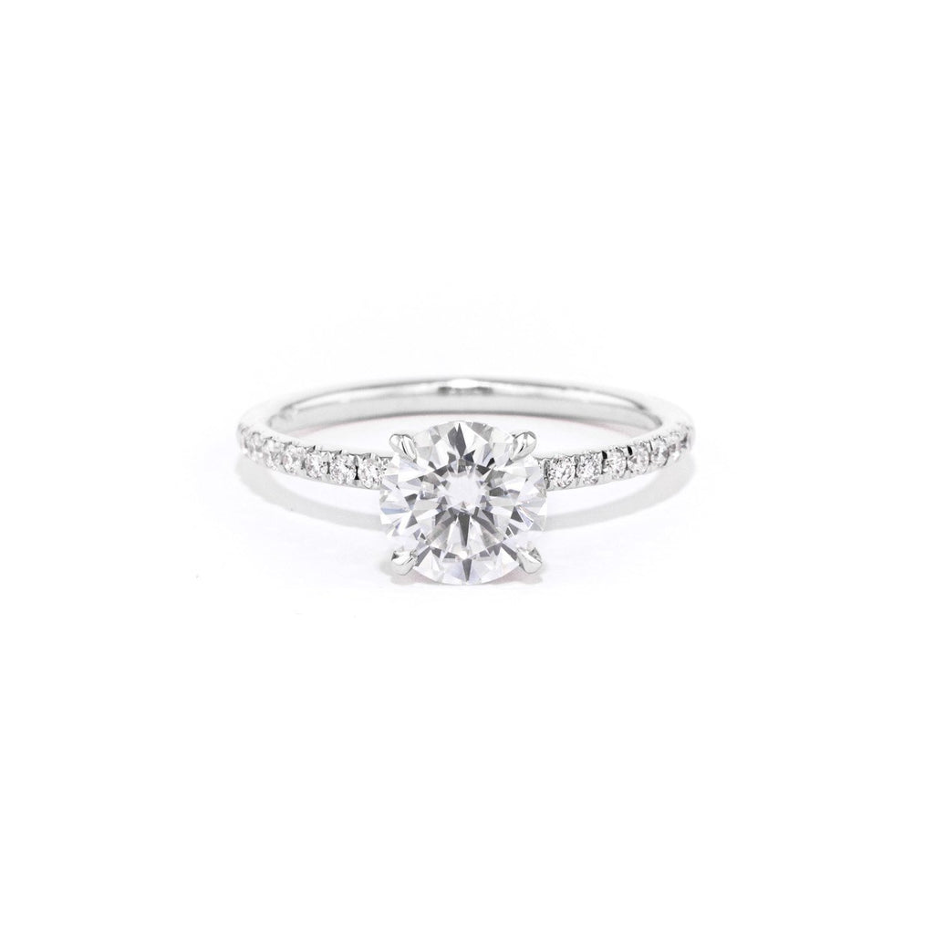 Stephanie Round Engagement Rings Princess Bride Diamonds 3 14K White Gold