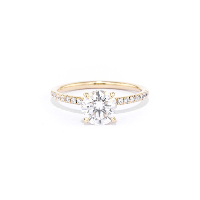 Stephanie Round Engagement Rings Princess Bride Diamonds 3 14K Yellow Gold