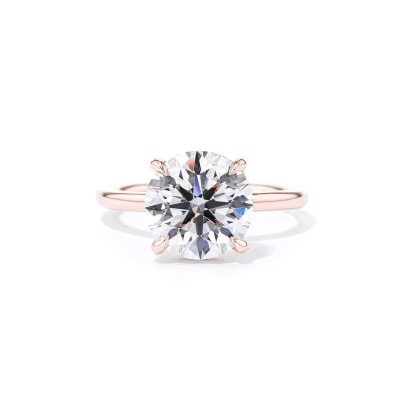 Stephanie Round High Polish Engagement Rings Princess Bride Diamonds 3 14K Rose Gold