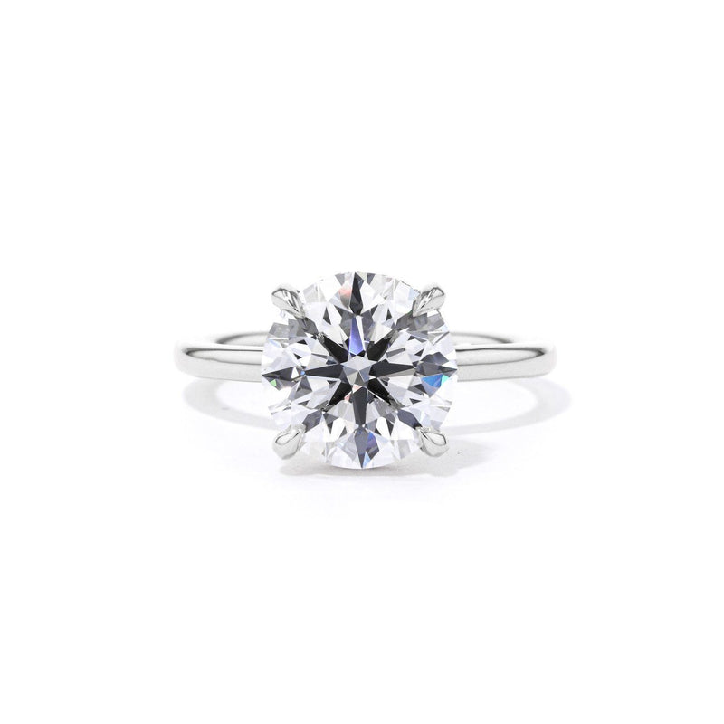Stephanie Round High Polish Engagement Rings Princess Bride Diamonds 3 14K White Gold