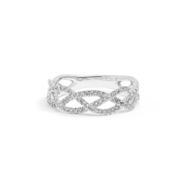 Three Strand Braided Diamond Ring Ring Princess Bride Diamonds 3 14K White Gold
