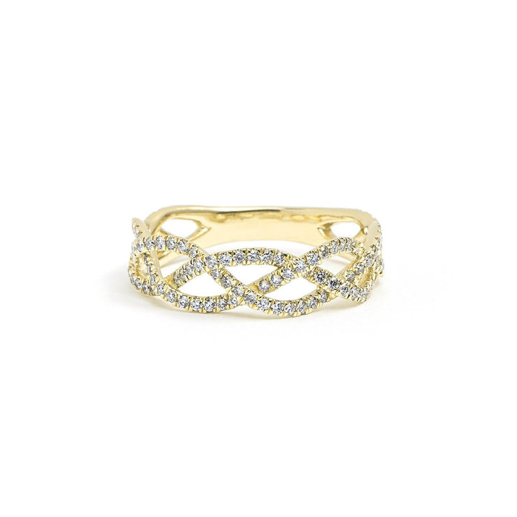 Three Strand Braided Diamond Ring Ring Princess Bride Diamonds 3 14K Yellow Gold