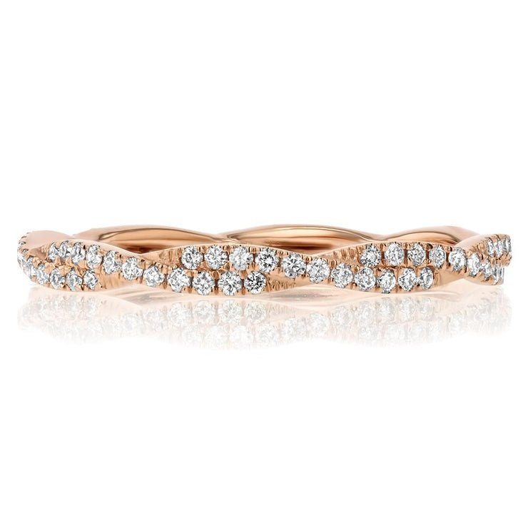Tight Braid Diamond Ring Ring Princess Bride Diamonds 3 14K Rose Gold