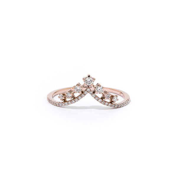 V-Constellation Stackable Ring Ring Princess Bride Diamonds 3 14K Rose Gold