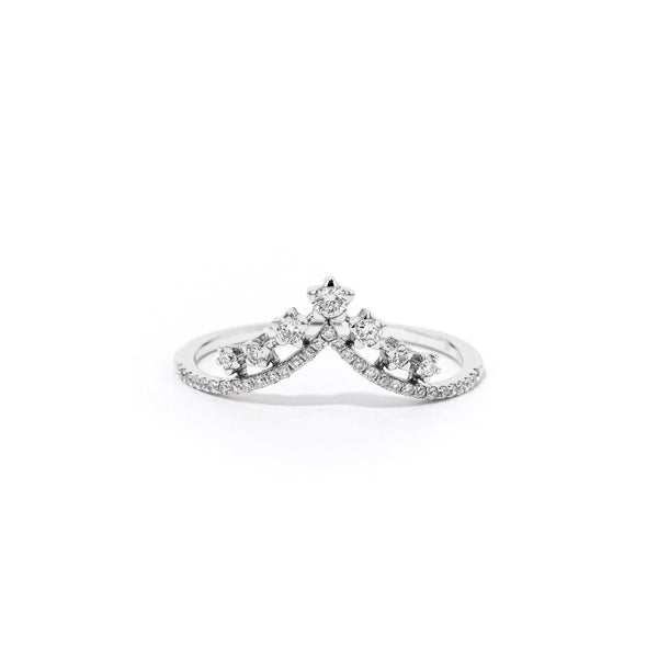 V-Constellation Stackable Ring Ring Princess Bride Diamonds 3 14K White Gold