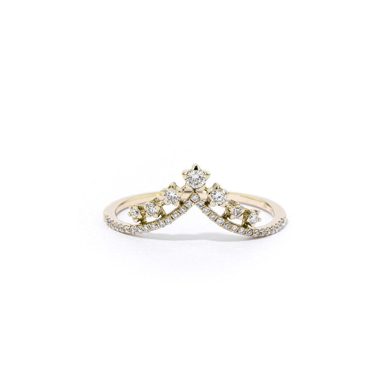 V-Constellation Stackable Ring Ring Princess Bride Diamonds 3 14K Yellow Gold