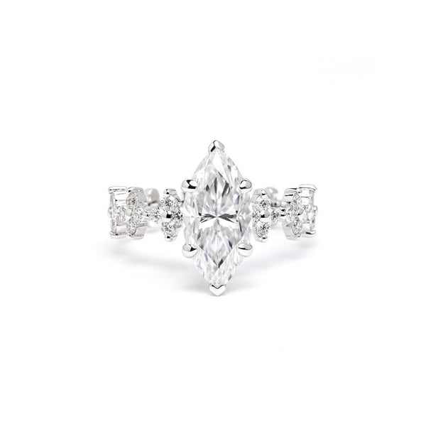Venetian 13x6.5mm Marquise Engagement Rings Princess Bride Diamonds