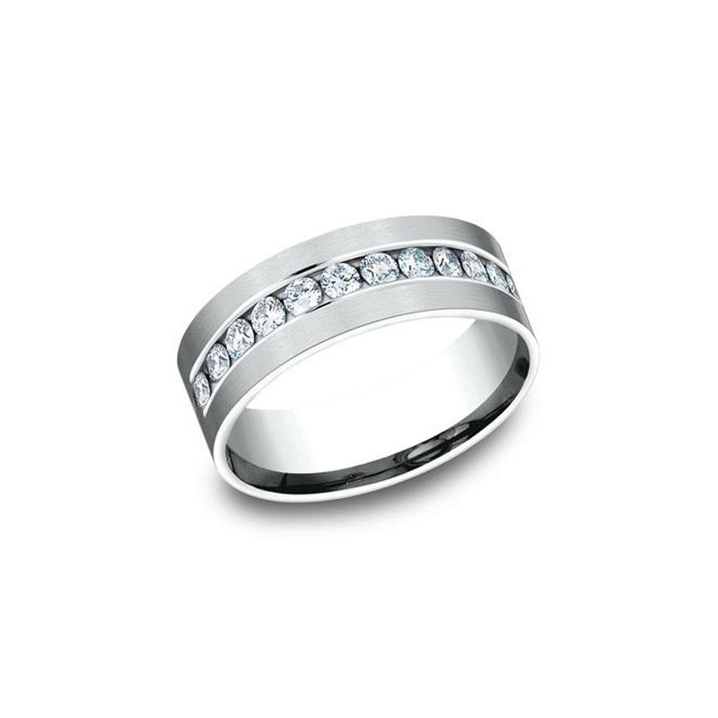 White Gold Channel Diamond Band Ring Princess Bride Diamonds
