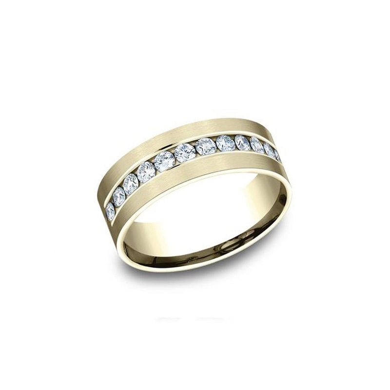 Yellow Gold Channel Diamond Band Ring Princess Bride Diamonds
