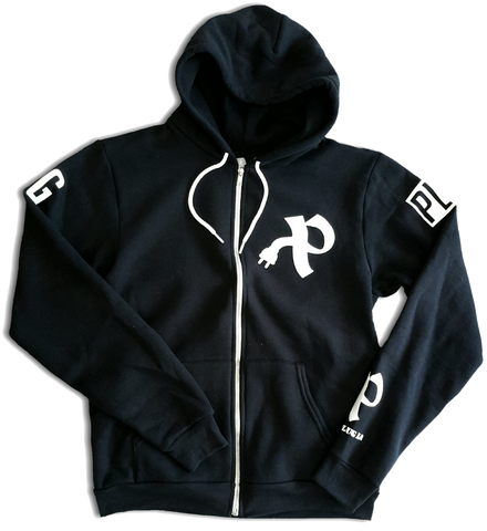 The Official Plug zip-up hooded sweatshirt in BLACK