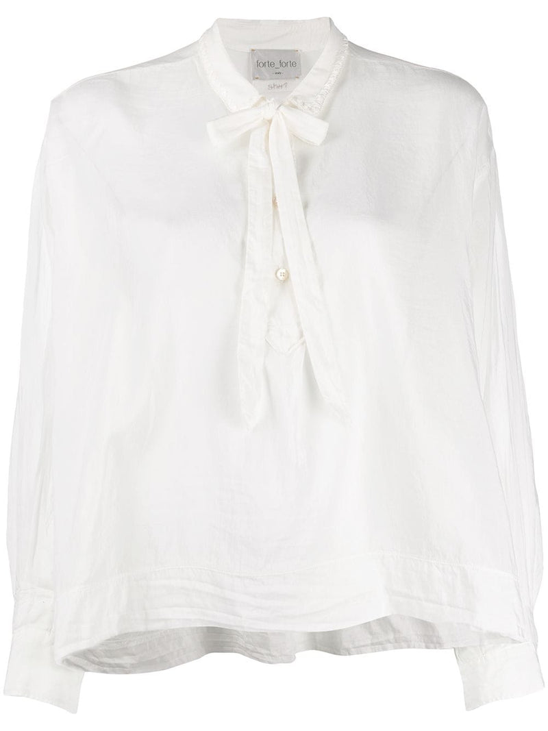 Voile Shirt with Ribbon