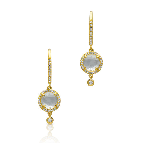 White Topaz Kennedy Wireback Earrings