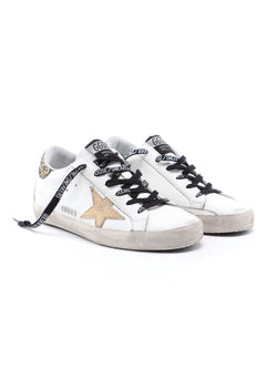 Superstar White Leather with Gold Star Sneakers