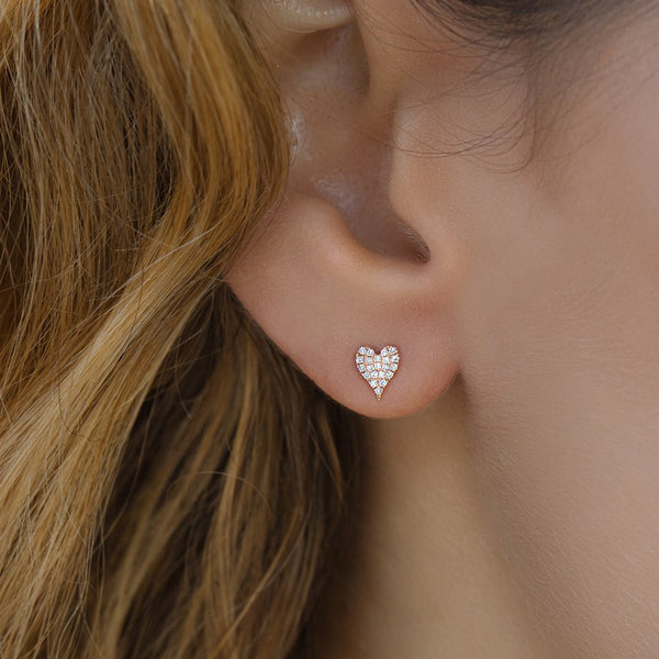 Small Modern Heart Stud Earrings