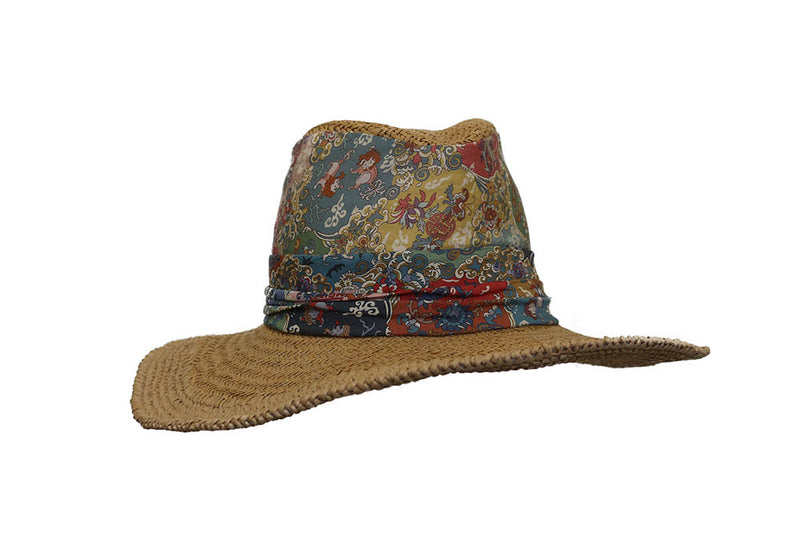 Straw and Fabric Adorned Hat