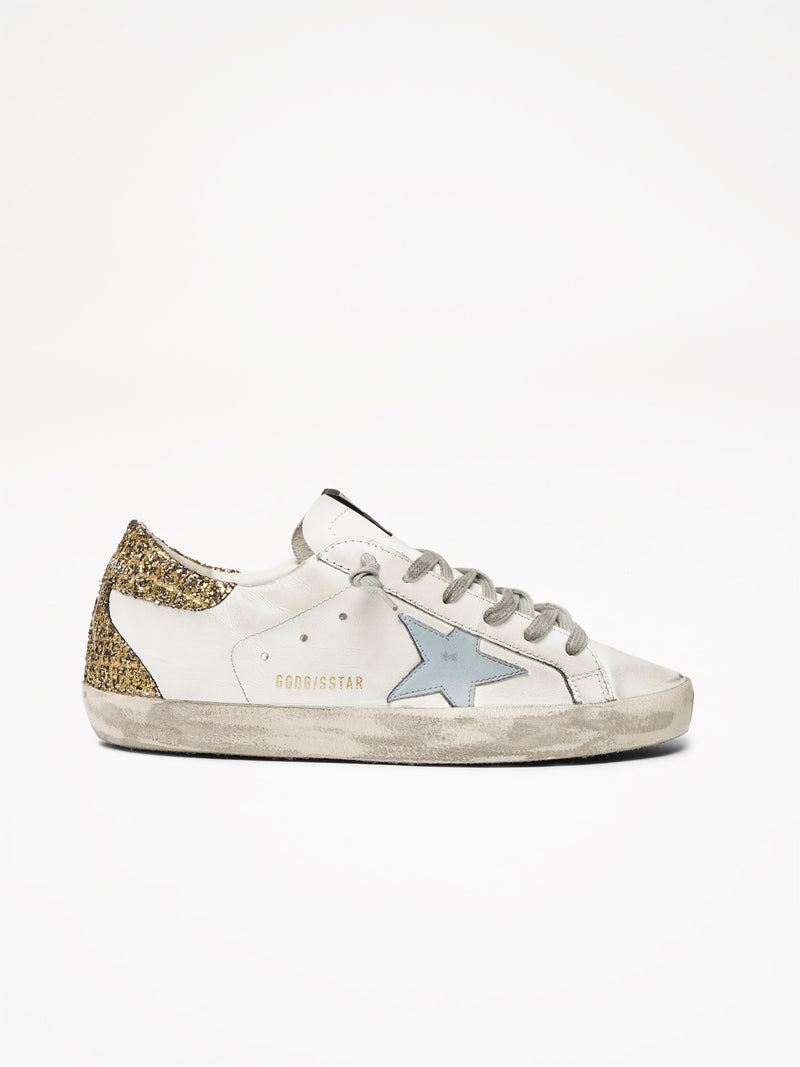 Superstar with Gold Glitter and a Light Blue Star Sneakers
