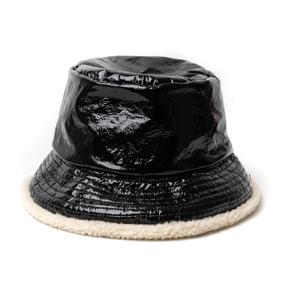 Black Patent Bucket Hat