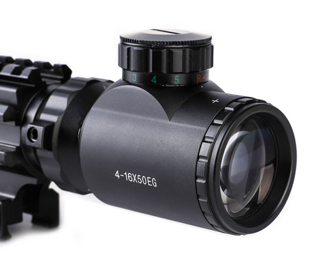 TAC-2: 4 Piece 4-16x50 Illuminated Reticle Scope Package - Includes 4 Mode Dot Sight, Green Laser and 45-degree offset angle rail mount