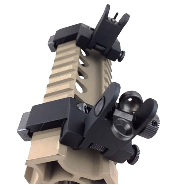 Flip Up Front and Rear 45 Degree Offset Sights (BUIS) for Picatinny Rail Mount