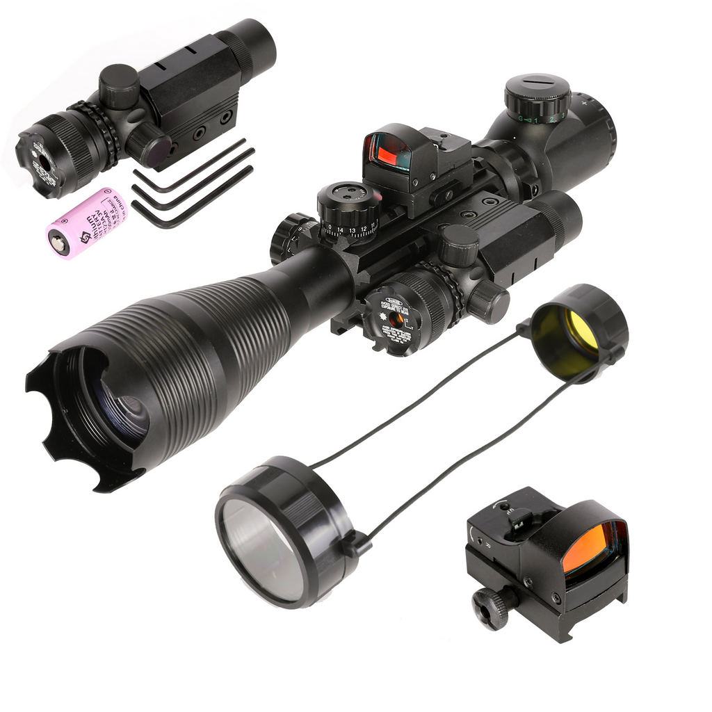 TAC-4: 4 Piece 4-16x50 Illuminated Reticle Scope Package - Includes 4 Mode Dot Sight and Green or Red Laser and Bore Sight