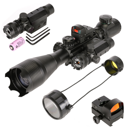 Image of 4 Piece Set 4-16x50 Illuminated Scope with Tinted Low Profile Reflex Mini Sight and Green Laser -V4