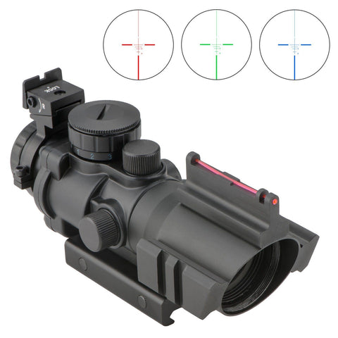 Compact 4x32 3 Color Illuminated Rifle Scope with Fiber Optic Front Sight - 20MM Rail Mount