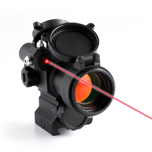 Pinty Pro Series 1x 30mm 2 MOA Red Dot with Red Laser and Flip Up Lens Caps
