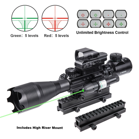 Image of 4-16x50 3in1 Illuminated Reticle Rangefinder Scope 4 Mode Holographic Dot Sight and Green Laser - V3