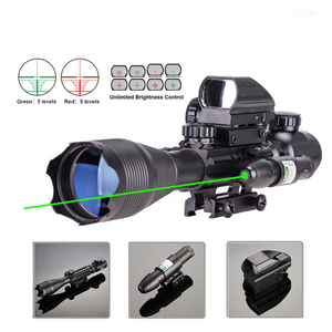 TAC-1:  4-16x50 Illuminated Reticle Scope Package - Includes 4 Mode Dot Sight and Green or Red Laser