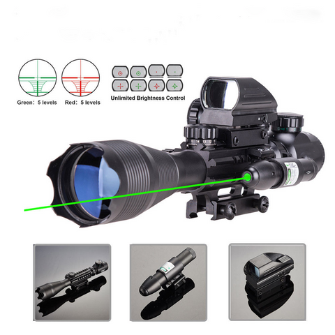 Top Seller! 4-16x50 3-in-1 Illuminated Reticle Rangefinder Scope 4 Mode Holographic Sight and Green or Red Laser