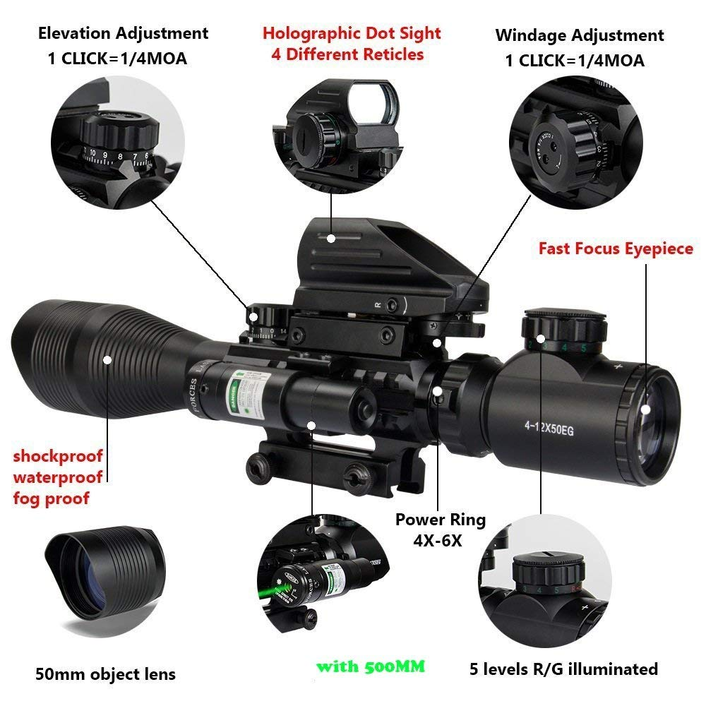 4-12X50 Rifle Scope with Red or Green Laser Sight and 4 Mode Holographic Reflex Sight