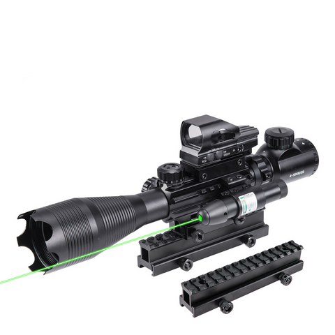 "TAC-3: 4 Piece 4-16x50 Illuminated Reticle Scope Package - Includes 4 Mode Dot Sight,  Green or Red Laser and 1"" High Rise"