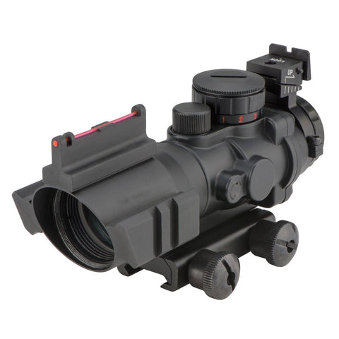 Image of Compact 4x32 3 Color Illuminated Rifle Scope with Fiber Optic Front Sight - 20MM Rail Mount