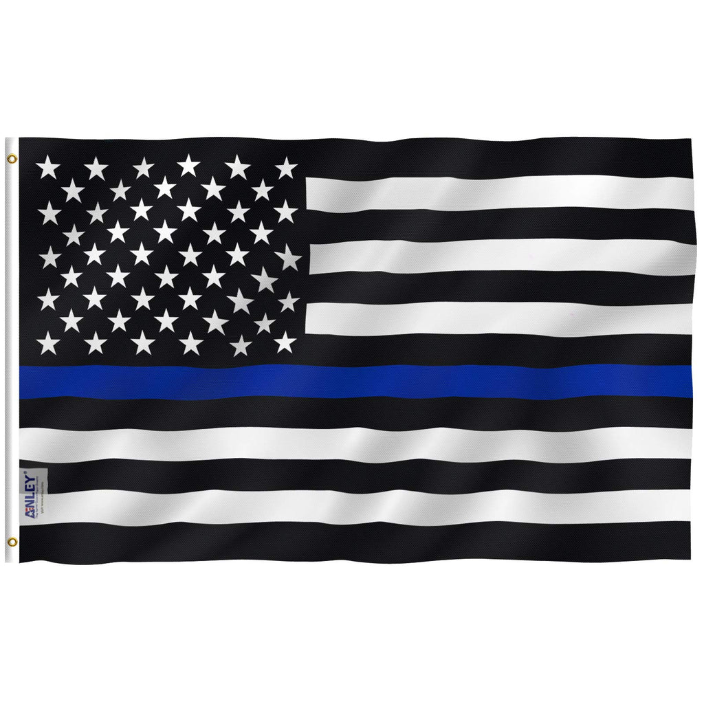 Thin Blue Line USA Flag 3x5 Foot - Honoring Law Enforcement Officers