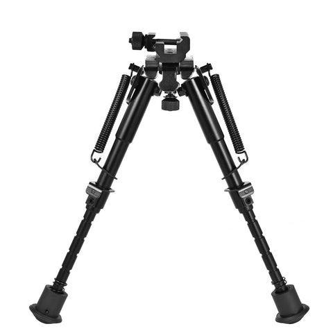 "Heavy Duty Adjustable 6-9"" Bipod Stand with Spring Return and 360 Deg Swivel Adapter"
