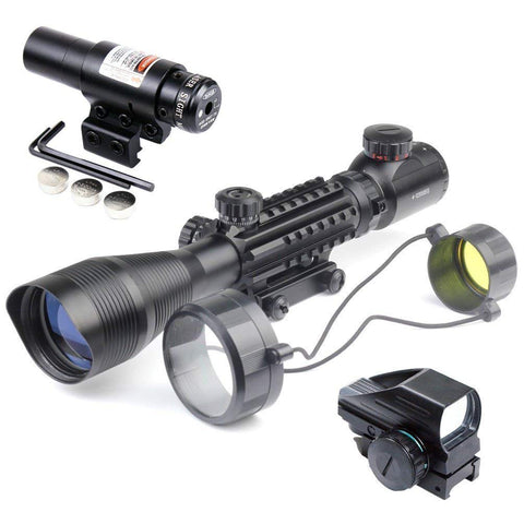 Image of TAC-5: 4-12x50 Illuminated Reticle Scope Package - Includes 4 Mode Dot Sight and Green or Red Laser