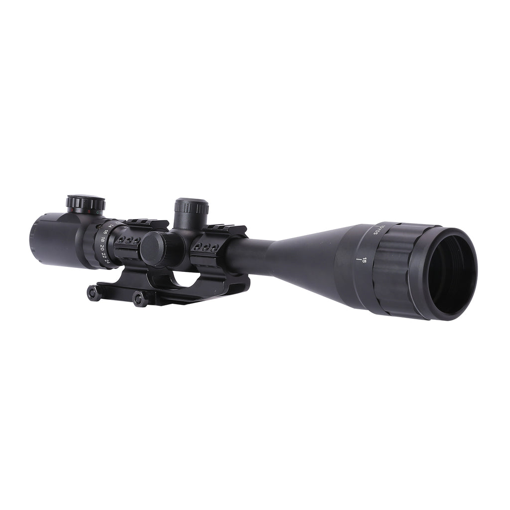 NEW! 6-24x50 AO Mil-Dot Scope with Illuminated Reticle Cantilever Mount and Sunshade Extender