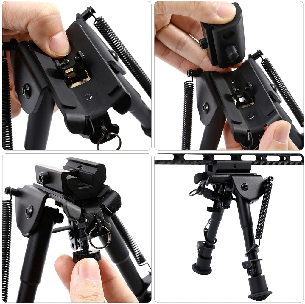 Bipod 6-9 inch Adjustable Height Stand with Spring Return Legs Compatible with Picatinny Rail System - Hardened Steel and Aluminum Alloy