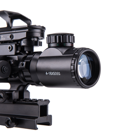 HOT! 4-16x50 3in1 Illuminated Reticle Rangefinder Scope 4 Mode Holographic Dot Sight and Green Laser